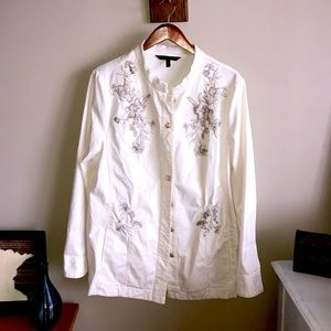 White, light weight, embroidered jacket
